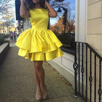 Wholesale Colorful Lace Design - Free Shipping!2016 New Design Custom Made Colorful A Line Stain Homecoming Dress Ruffles Tiered Mini 8thGrade Formal Party Gown