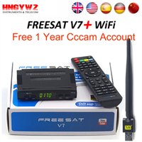 Wholesale Usb Satellite Tv - Satellite TV Receiver decoder Freesat V7 HD DVB-S2 + USB Wfi with 4 lines Europe CCCam account support full powervu cccam