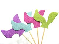 Wholesale Wedding Cupcake Mixed - wholesale 'Mermaid Tail' Glitter MIX cupcake toppers inserts cards food picks wedding baby bridal shower Cake Accessories decorations