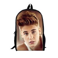 Wholesale Kids School Canvas Satchel - New Justin Bieber School Bag Designer School Backpacks Star Image Book Bags Print Mochila For Boy Kids