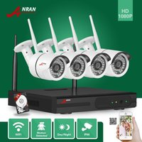 Wholesale Hdd Play - ANRAN Plug and Play HD 4CH 1920X1080 Wireless NVR Day Night Waterproof Surveillance 1080P WIFI IP Camera CCTV System Kit With 2TB HDD