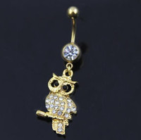 Wholesale Wholesale Jewelry Bells Charms Animals - 0619 owl style clear or pink colors Belly Button ring Navel Rings Body Piercing Jewelry Dangle Accessories Fashion Charm 10PCS