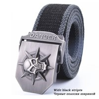 Wholesale Wild Pants - Fashion men's Canvas belt skull Metal tactics woven belt canvas belt Casual pants Cool wild gift for men belts Skull large size