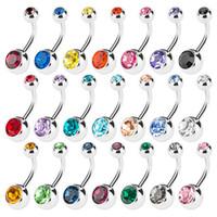 anillos de ombligo gratis al por mayor-Nueva 316L acero quirúrgico anillos del ombligo Crystal Rhinestone ombligo ombligo Bar anillo joyería del cuerpo Piercing 50PCS / LOT envío gratis 2993