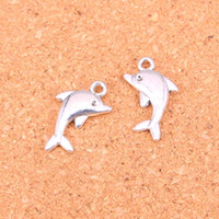 Wholesale Antique Dolphins - 88pcs Antique Silver Plated dolphin Charms Pendants for European Bracelet Jewelry Making DIY Handmade 23*13mm