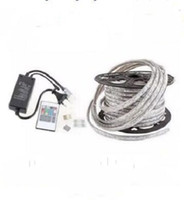 FREE Cut 50M 110V / 220V Haute tension SMD 5050 RGB CW Led Strips Lights Waterproof + IR Remote Control + Power Supply MYY
