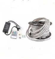 Wholesale High Voltage Dc Power - FREE Cut 50M 110V 220V High Voltage SMD 5050 RGB CW Led Strips Lights Waterproof +IR Remote Control+Power Supply MYY