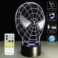 Wholesale spiderman figures resale online - Spiderman Head D Lamp D Optical Lamp Night Light RGB Lights Dimmable DC V Battery IR Remote Control Retail Box