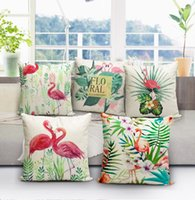 Wholesale Christmas Decorative Throw Pillows - Flamingo Throw Pillow Cover Cases Cushoin Cover Linen Pillowcase Sofa Bed Decorative Pillow Covers Christmas Gift 40*40cm KKA3001