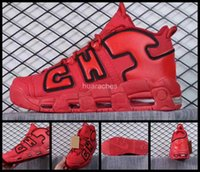 Wholesale Chi Balls - 2017 New Air More Uptempo QS Men Basketball Shoes Chicago Red Black Mens SneakersRetro Scottie Pippen CHI Basket ball Sports Shoes 7-13