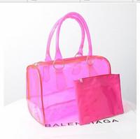 Wholesale Plastic Shopping Bags Black - Fashion women candy color transparent bag Clear beach bags PVC leather bag shopping bag See-thru Bag Handbag Tote Purse PVC Plastic 5 colors