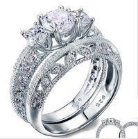 ingrosso diamanti art deco-Stile vintage vittoriano Art Deco 1,5 Ct creato diamante solido argento 925 2-Pcs Wedding Engagement Ring Set