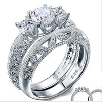Wholesale Art Deco Silver Plated - Vintage Style Victorian Art Deco 1.5 Ct Created Diamond Solid Sterling 925 Silver 2-Pcs Wedding Engagement Ring Set