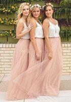Wholesale Cheap Black Summer Blouse - 2017 New Cheap tulle bridesmaid dress Women Long Skirt Tutu Elegant Petticoat Casual Tulle Elegant Long Skirt A-line Dresses Without Blouse