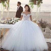 Wholesale Brial Dresses - 2016 Spring Ball Gown vintage Wedding Gown Off Shouler Lace Applique Tulle White Brial Wedding Dresses