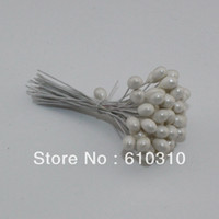 Wholesale Single Stem Roses - Free shipping New arrived 1000pcs Lot Single head white pearl flower stamen iron wire stem pistil cake decoration craft DIY