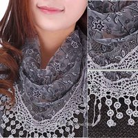 Wholesale Wholesale White Chiffon Silk Scarves - New fashion Lace scarf women Sheer Floral Print silk scarf Hollow triangle pendant scarves shawls & Wrap