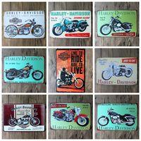 teneke kutu işareti kahve dükkanı bar toptan satış-2016 20 * 30 cm klasik retro motorider motosiklet Tabela Kahve Dükkanı Bar Restoran Duvar Sanat dekorasyon Bar Metal Resim Sergisi