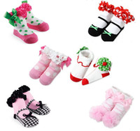 Wholesale Toddler Floral Boots - Newborn Baby Kids Girl Anti-slip Lace Floral Socks Slipper Boot 3D Shoes 0-1Y Baby Toddler Kids Socks