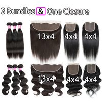 Onda do corpo brasileira Straight Peruvian Hair Extensions with Ear to Ear 13x4 Frontal Closure Middle ou Free Part 4X4 Encerado Encerramento e Bundle