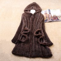 Wholesale Knitted Mink Coat Hood - Wholesale-2016 Winter Women's Genuine Real Natural Knitted Mink Fur Coat Lady Trench Overcoat Hoody Outerwear Coats Plus Size