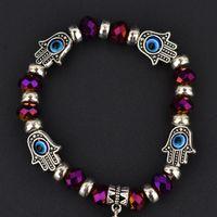 Wholesale eyes matches for sale - Charm Bracelets Fashion Simple Evil Eye Hamsa hand religious charm blue beads Lucky bracelet Best Match Turkish bracelet for women
