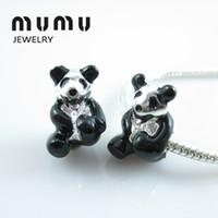 Wholesale panda bracelets resale online - Animal Charms Panda Beads Silver Plated National Treasure Big Hole Loose Beads Fits European Snake Charm Bracelets Aggs Women