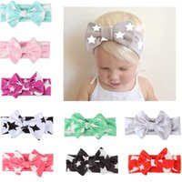 Wholesale silk hair bows for girls - 10pcs Girls Bowknot Print Star Headbands for Girls Newborn Infant Hair Accessories Children Rabbit Ears Elastic Baby Hair Bands Bow Headwear
