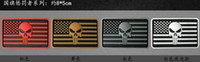Wholesale Patch Airsoft - Free shipping Brand New American Flag Punisher Skull Army Morale 3D PVC Hook & Loop Tactical Airsoft Paintball Patch