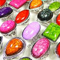 pierres de verre pour bagues achat en gros de-8pcs mode multicolore verre pierre en alliage de zinc anneau pour les femmes de la mode en gros bijoux anneaux beaucoup LR032