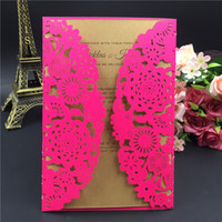 Wholesale Chinese Wedding Red Envelopes - 2016 New Free Shipping Pink laser cut wedding invitation card with envelope,blank inside card wedding favors party supply