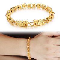 Wholesale Long Set Chain - Charm 18K Yellow Gold Plated Man Bracelets Vintage Dragon Head Style Chain & Link Men Bracelet Jewelry 22CM Long KS445
