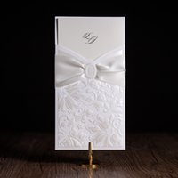 Wholesale Elegant Wedding Invitations Butterfly - Wholesale- cw5193 white elegant wedding invitation card  greeting card with laser cut and 3D butterfly