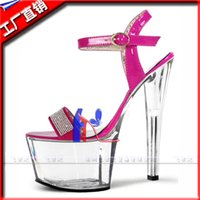 Wholesale Heel Table Party - Direct manufacturers hate day high 17 cm high water table nightclub crystal sandals ultra fine with small size shoes
