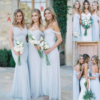 Wholesale Girls Coral Chiffon Dresses - Beach Bridesmaid Dresses 2017 Ice Blue Chiffon Ruched Off The Shoulder Summer Wedding Party Gowns Long Cheap Simple Dress For Girls