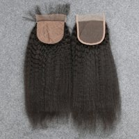 """Wholesale Cheap Silk Based Closures - Slove Best Kinky Straight Silk Base Closure With Baby Hair 4 X 4"""" Natural Color Free Part Virgin Brazilian Cheap Silk Based Closure"""
