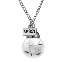 Wholesale Natural Seeds Jewelry - Wish Fashion Glass Bottle Necklace Natural Dandelion Seed In Glass Long Necklace Make A Wish Glass Bead Orb Silver Plated Necklaces Jewelry
