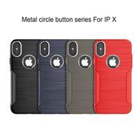 agujero de botón de metal al por mayor-Estuche a prueba de golpes para iPhone X Círculos de metal para el agujero de la cámara Botón de volumen metálico del agujero para logotipo Estuche protector de TPU suave