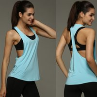 Wholesale Running Singlet Women - 6 Colors Summer Sexy Women Tank Tops Dry Quick Loose Gym Fitness Sport Sleeveless Vest Singlet for Running Training P0727