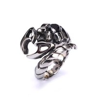 Wholesale Black Scorpion Rings - Western Style Vintage Punk Gothic Scorpions Ring Unisex NO-fade Brand Fashion Jewelry 316L Stainless Steel Ring Trendy Jewelry US7-13