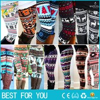 Wholesale Snowflake Print Leggings - New hot Aztec Leggings For Women Stretchy Knit Christmas Snowflake Leggings Ankle Length Tribal Printed Casual Skinny Slim Legging