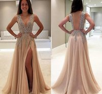 Wholesale Evening Luxury Dresses - Luxury Beaded Side Split Prom Dresses 2017 Deep V Neck See Through Back Party Saudi Arabic Long Evening Dress Crystal Plus Size 2018