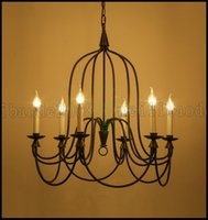 Wholesale Traditional Wrought Iron Chandeliers - 6-Lights American Country Retro Vintage Lighting Industry Restaurant Cafe Wrought Iron Candle Chandelier Bar Pendant Lamps Lights LLWA172