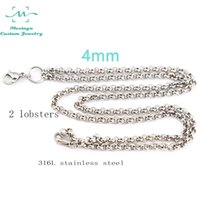 Wholesale O Ring Necklace Charms - 30inch 10pcs 316L stainless steel O ring lobster claw rolo 4mm width chain necklace for floating charm glass locket xmas mother