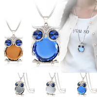 Wholesale Bulk Fishing - Women Owl Rhinestone Crystal Pendant Necklace Animal Long Sweater Chain Jewelry vintage chunky statement necklace Jelly fish in bulk