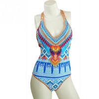 Wholesale Digital Print Swimsuit - Women Sexy Beachwear Swimwear One Piece Swimsuit Female Digital Printed Bathing Suit Backless Bikini