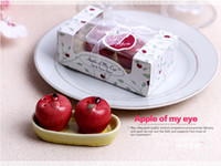 100sets Cerámica Red Apple Sal Pimienta Shaker 2 Pcs / Set Amor Apple Condimento Pot Spice Jar Boda Favores En Caja De Regalo