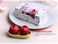 Wholesale Red Pepper Spice - 100sets Ceramic Red Apple Salt Pepper Shaker 2 Pcs  Set Love Apple Seasoning Pot Spice Jar Wedding Favors In Gift Box