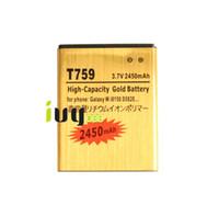 Wholesale T759 Batteries - 2450mah EB484659VU Gold Replacement Battery For Samsung Galaxy W i8150 T759 W689 S8600 S5690 S5820 M930 i110 R730 i677 T589 Batteries