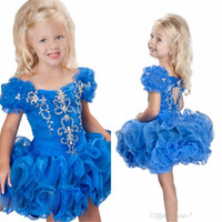 Wholesale New Girl S Pageant Dresses - New Arrival Cheap Royal Blue Off-shoulder crystal Girl&039;s pageant Dresses Beads Ruffle Layered Piping Short Organza Baby Gowns